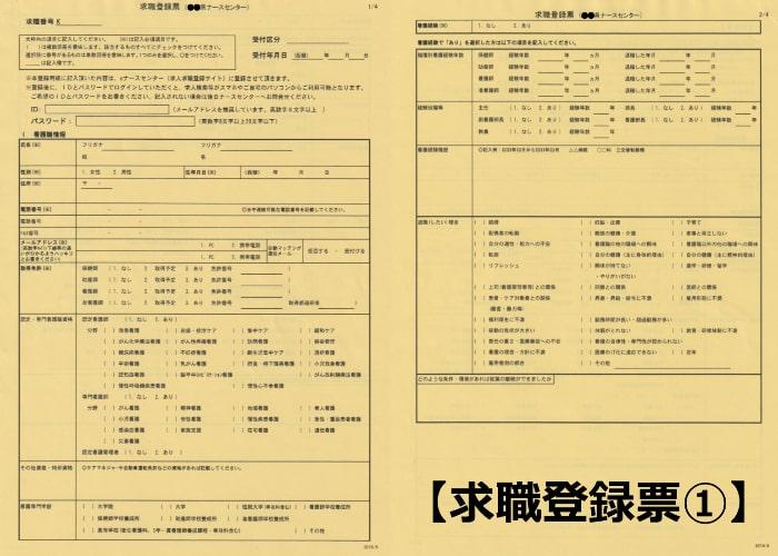 ナースセンター(ナースバンク)求職登録票01