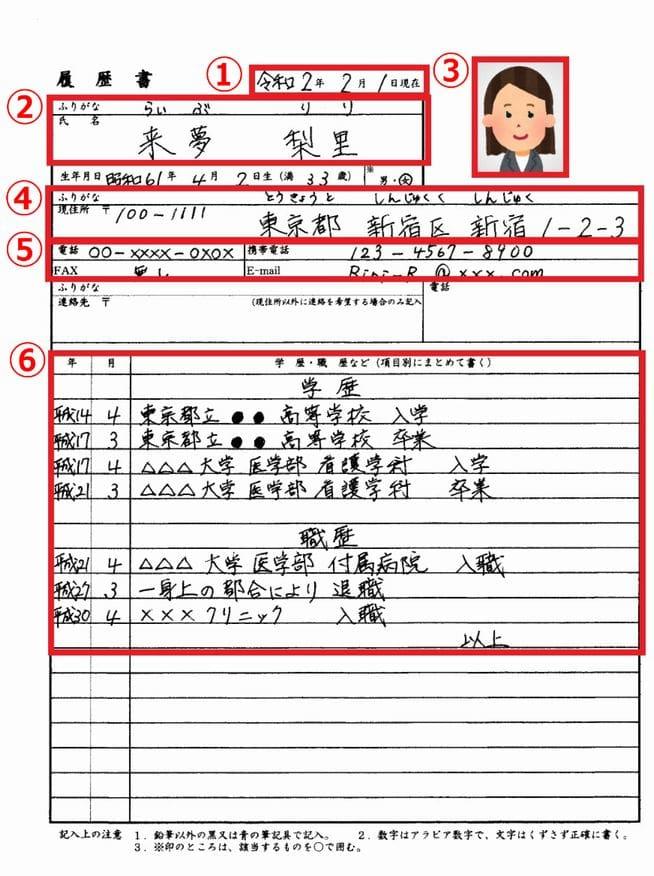看護師の転職時の履歴書チェックポイント1